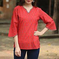 Beaded cotton tunic, 'Crimson Delhi' - Handmade Paisley Cotton Tunic Top from India