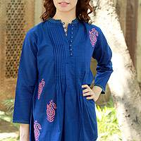 Cotton blouse, 'Bengali Blue' - Cotton blouse