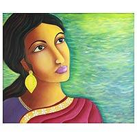 'Radha' - Expressionist Portrait Painting from India