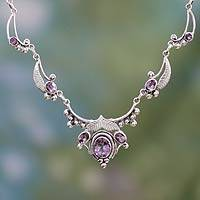 Amethyst flower necklace, 'Queen of Nature' - Indian jewellery Sterling Silver and Amethyst Necklace