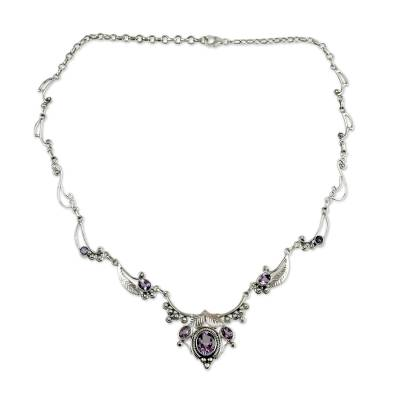 Indian Jewelry Sterling Silver and Amethyst Necklace