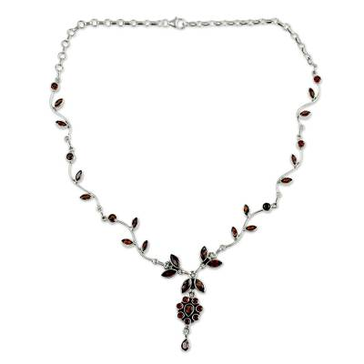Floral Jewelry Sterling Silver and Garnet Necklace