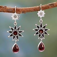 Garnet dangle earrings, 'Star of Love' - Garnet Earrings Artisan Crafted Silver Jewelry