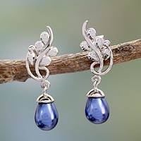 Cultured pearl dangle earrings, 'Azure Fruit' - Blue Pearl Jewelry Artisan Crafted Sterling Silver Earrings
