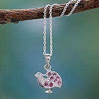 Ruby pendant necklace, 'Immortal Peacock' - Ruby pendant necklace