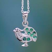 Emerald pendant necklace, 'Immortal Peacock' - Sterling Silver Necklace with Emerald Studs from India