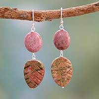 Unakite and rhodonite dangle earrings, 'Natural Allure' - Rhodonite and Unakite Earrings from India Pink Jewelry