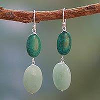 Turquoise and amazonite dangle earrings,