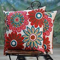 Cushion covers, 'Floral Delight' (pair) - Fair Trade Embroidered Cushion Covers (Pair)