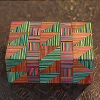 Indian elm wood box, 'Jaipuri Puzzle' - Wood box
