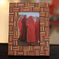Indian elm wood photo frame, 'Woven Fantasy' (4x6) - Wood photo frame (4x6)