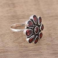 Garnet flower ring, 'Floral Glamour' - Garnet Ring and Sterling Silver Ring Flower Jewelry