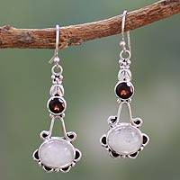 Rainbow moonstone and garnet dangle earrings,