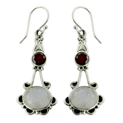 Garnet and Rainbow Moonstone Sterling Silver Earrings