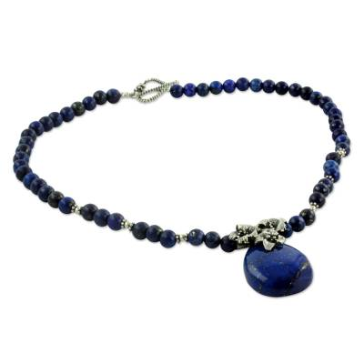Floral Sterling Silver and Lapis Lazuli Necklace