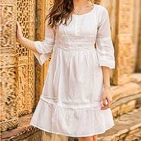 Cotton dress, 'Quiet Joy' - White Cotton Dress with Indian Chikankari Hand Embroidery