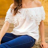 Cotton blouse, 'Feminine Illusion' - White Scoop Neck Cotton Blouse with Lace