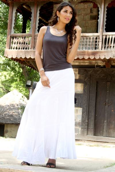 Long White Peasant Skirt 61