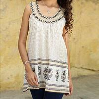 Beaded cotton top, 'Golden Magic' - Sleeveless Cotton Block Print Top with Beadwork and Sequins
