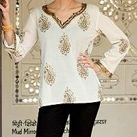 Cotton tunic, 'Bronze Diva' - Cotton V-neck Tunic Paisleys with Bronze Embellishments