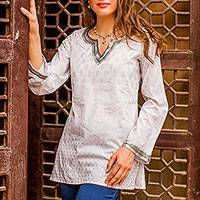 Cotton tunic, 'Silver Diva' - Block Printed White Cotton Tunic with Silver Embellishments