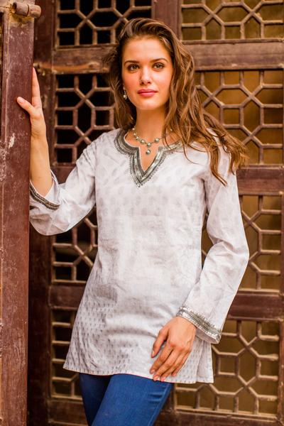 Cotton tunic, 'Silver Diva'