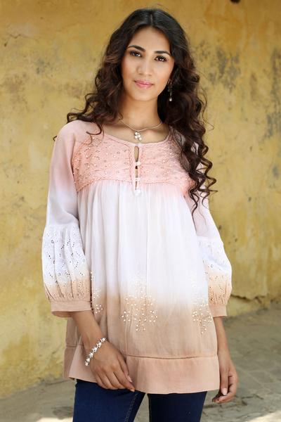 Embellished cotton blouse, 'Subtle Allure' - Hand Crafted 100% Cotton Blouse with Embellished Eyelet Lace