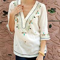 Cotton tunic, 'Rajasthani Muse' - Embroidered White Cotton V-neck Tunic from India