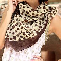 Wool scarf, 'Indian Leopard' - Wool scarf