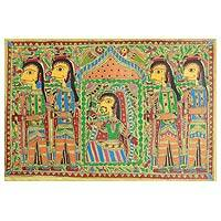 Madhubani painting, 'Pretty Bride Procession' - Madhubani painting