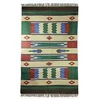 Cotton rug, 'Pine Forest' (4x6) - Cotton rug (4x6)