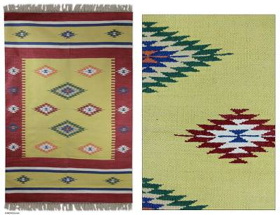 Cotton dhurrie rug, 'Morning Star' (4x6) - Cotton dhurrie rug (4x6)