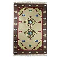 Cotton dhurrie rug, 'Tribal Earth' (4x6) - Cotton dhurrie rug (4x6)