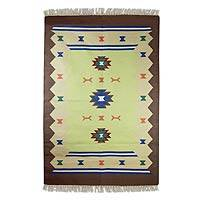 Cotton dhurrie rug, 'Tribal Mystique' (4x6) - Cotton dhurrie rug (4x6)