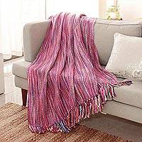 Throw, 'Joyous Amethyst' - Indian Multi-Colored Textile Throw Blanket