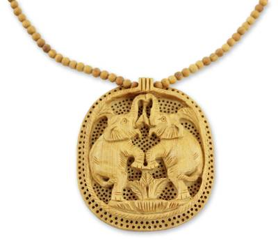 Wood pendant necklace, 'Playful Elephants' - India Jali jewellery Hand Crafted Beaded Necklace