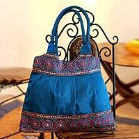 Shoulder bag, 'Blue and Rose Mandalas' - Floral Embroidered Shoulder Bag