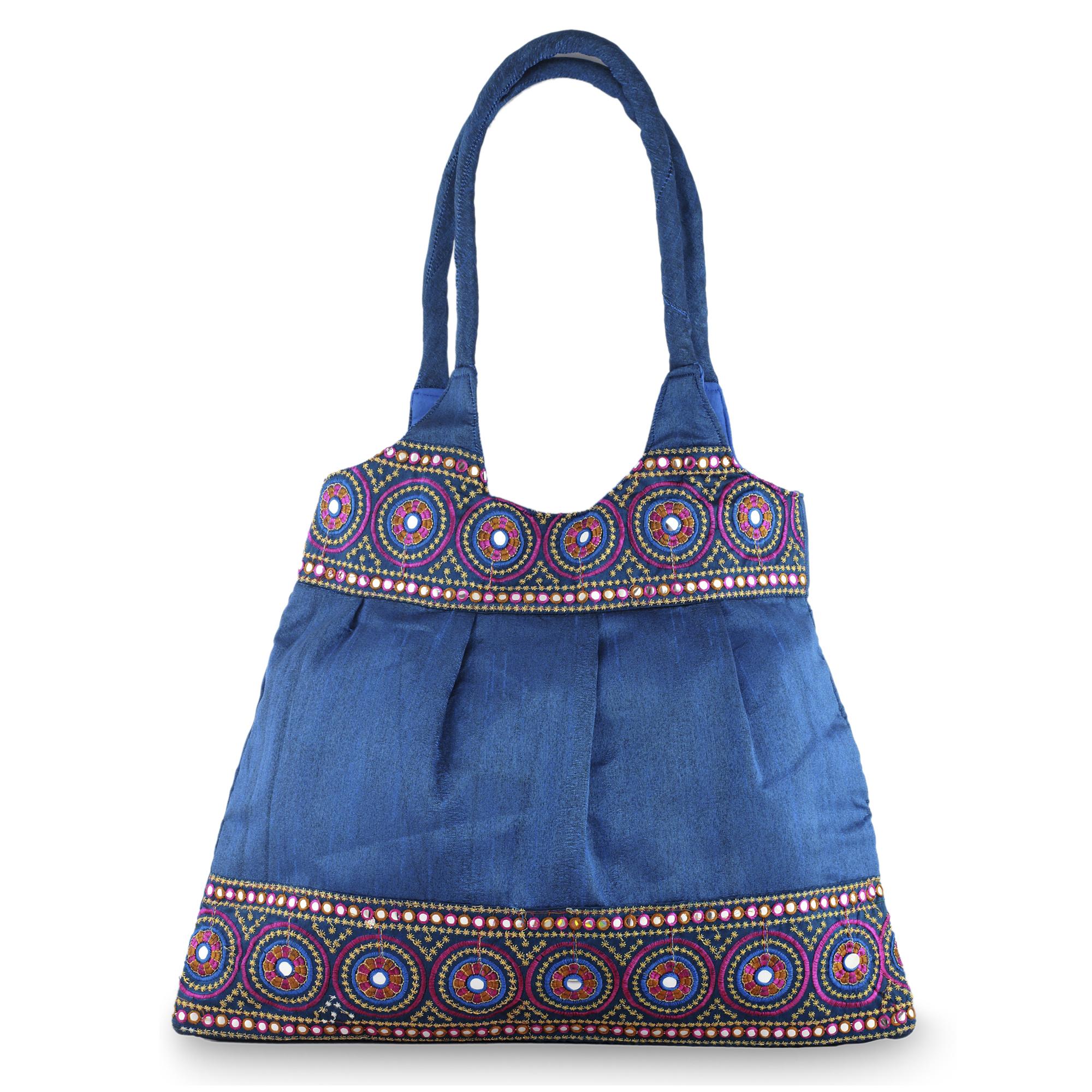 Unicef uk market floral embroidered shoulder bag blue