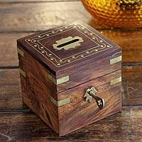 Brass inlaid wood bank, 'Personal Finance' - Brass Inlaid Wood Bank Locking Box Handmade India