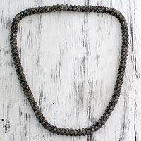 Labradorite beaded long necklace,