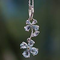 Blue topaz flower necklace, 'Precious' - Blue topaz flower necklace