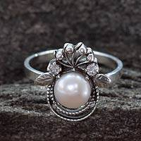Cultured pearl cocktail ring, 'Bridal Bouquet'