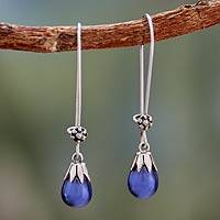 Cultured pearl dangle earrings, 'Bluebells' - Handmade Sterling Silver Dangle Pearl Earrings