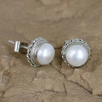 Cultured pearl stud earrings, 'Blossoming Purity' - Cultured Pearl Earrings in Sterling Silver from India