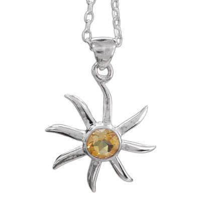 Citrine and Sterling Silver Necklace from India Jewelry