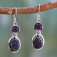 Amethyst dangle earrings, 'Turquoise Duet' - Amethyst dangle earrings