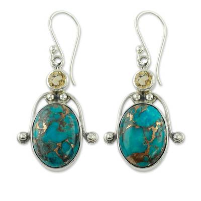 Citrine and Comp Turquoise Earrings Modern Silver Jewelry