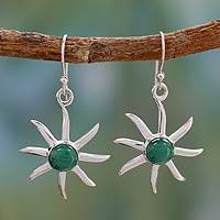 Malachite dangle earrings, 'Verdant Sun' - Malachite dangle earrings