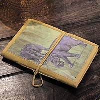 Journal, 'Jungle Elephants' (large) - Handmade Journal from India
