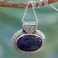 Lapis lazuli pendant necklace, 'Royal Aura'